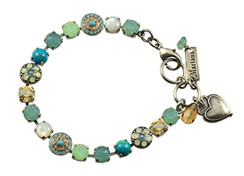 Mariana Summer Palace Silver Plated Crystal Round Jewel Tennis Bracelet with Heart Pendant, 8'' by Mariana