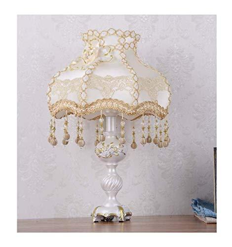 Lampara de mesa de estilo europeo 12 pulgadas lampara de noche de encaje hecho a mano tela beige pantalla Victoriana estilo resina lampara cuerpo escritorio Lampara uso E27/E26 bombillas,ButtonSwitch