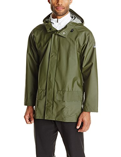 (Helly Hansen Workwear Men's Mandal Rain Jacket, Army Green, Medium)
