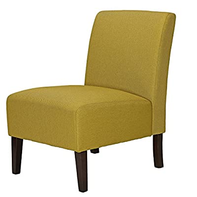 Cortesi Home Chicco Citron Armless Accent Chair, Linen Green - Armless accent chair Upholstered in a yellow-green mid-century color linen Solid wood frame and exposed cappuccino finish legs - living-room-furniture, living-room, accent-chairs - 41Iay2hfgZL. SS400  -