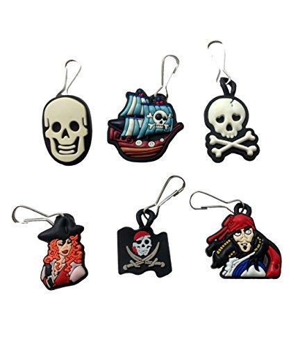 Pirates Snap Hook Zipper Pulls 6 Pcs Set #1