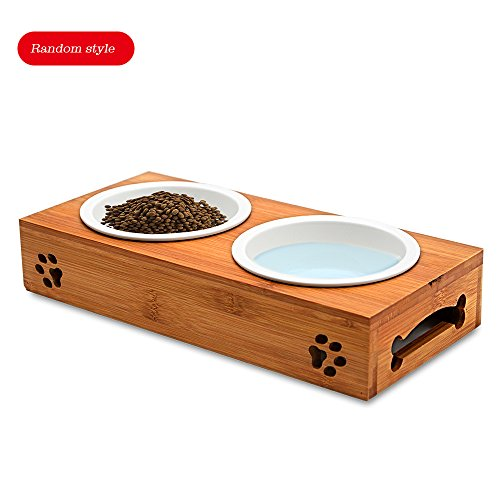 Wellbro Elevated Double Porcelain Bowls, Dog & Cat Pet Dual Stoneware Feeder for Food and Water, Base in Bamboo, Dishwasher Safe (11.5