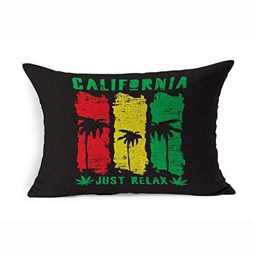 Ahawoso Linen Throw Pillow Cover Queen 20x30 Reggae On California Miscellaneous Africa Typography Stamp Ocean Jamaica Surfing Sport Seal Beach Graphic Tee Pillowcase Home Decor Cushion Pillow Case