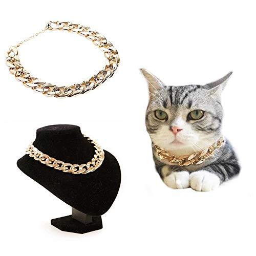 CheeseandU 1Pc Dog Neck Chain Pet Gold Chain Collar Fashion Cool Plastic Adjustable Pet Bulldog Chain Necklace for Cat Dog Stylish Funny Costume Photo Props
