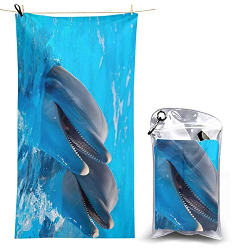 - Hguftu5du Beach Quick-Drying Dolphin Bath Towel Large Size Microfiber Yoga Towel Outdoor Quick-Drying Towel Absorbent 27.5'' X 51''