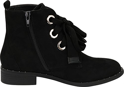 Low Black Bootie Heel Select Cambridge Round Large Stacked Lace Eyelet Imsu up Women's Ankle Toe S8Rqx8Ow