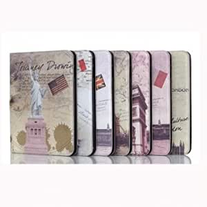 Vintage Design Folding Stand Case Cover For Samsung Galaxy Tab4 T330 << Model::Leaning Tower >>