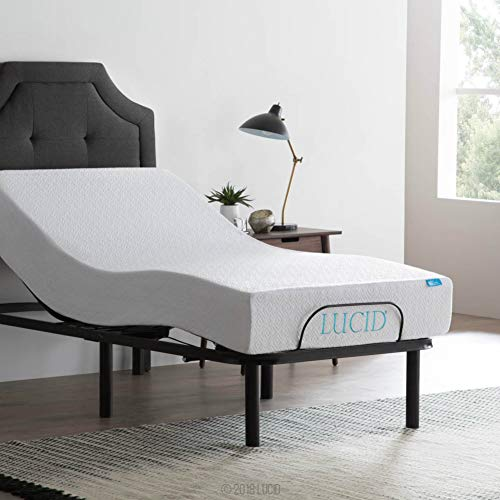 LUCID L100 Adjustable Bed Base Steel Frame - 5 Minute Assembly - Head and Foot Incline -  Wired Remote Control - Twin XL