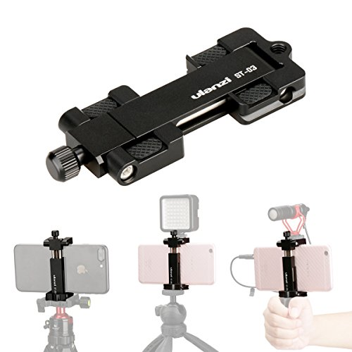 Ulanzi Metal Phone Tripod Mount w Cold Shoe Mount 1/4 inch Screw Adapter, iPhone Clip Holder for iPhone X 8 7 6 plus Used on Microphone, Video Light, Tripod Monopod etc ST-03 (Black) by Ulanzi