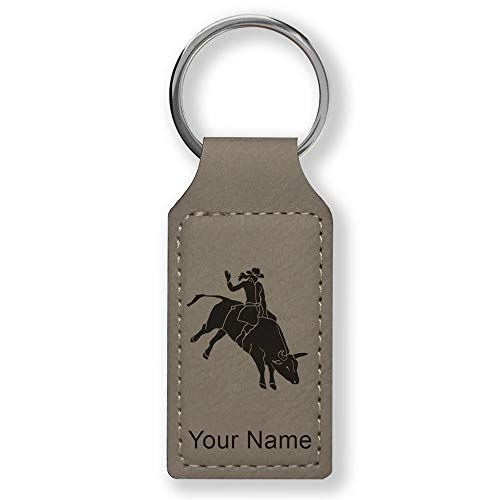 (Rectangle Keychain, Bull Rider Cowgirl, Personalized Engraving Included (Gray))