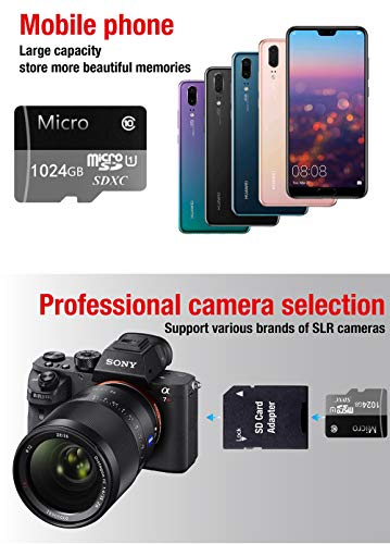 Memory Card Micro SD Card 256GB 512GB 1024GB MicroSDHC TF Card Memory Card UHS-1 Up to 90MB/s Read, Class 10 C10 U1 TF Card for Camera, Security System,Smartphone(1024GB Blue)