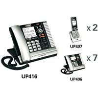 VTech UP416 Corded ErisBusinessSystem™ Main Console + (7) UP406 Corded Extention Telephones + (2) UP407 Cordless / Wireless Handsets and Chargers