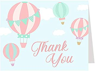 Balloon Thank You Cards, Hot Air Balloon Thank You Cards, Baby Shower, Birthday Party, Thank You Cards, Balloons, Hot Air Balloons, Pink, Girls, It's A Girl, 50 Pack Folding Notes with Envelopes