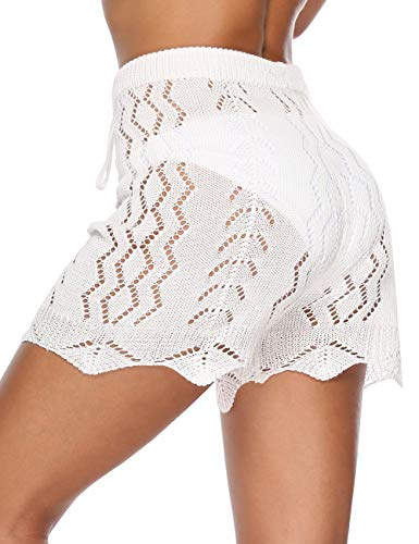 Kistore Womens Beach Cover Up Shorts Sexy Lace Mesh High Waisted White Crochet Short Pants ()