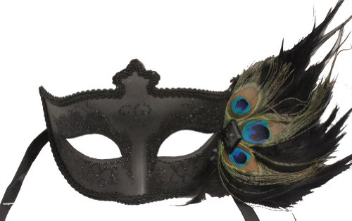 RedSkyTrader Womens Victorian Mask w/ Peacock Feathers One Size Fits Most Black (Mask Peacock Mardi Gras)