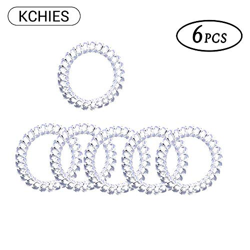 Spiral Hair Ties No Crease Painless for Girls Crystal Clear Telephone Cord Hair Coils Plastic Rubber Hair Bands Women Elastics Ponytail Holder Power Traceless Hair Ring Wrist Bracelet 6pcs Transparent