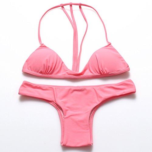 YONGYI Europa y la comunidad de color puro, la Sra. traje de baño Trajes de baño spa color caramelo Rosa