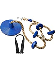 Climbing Rope with Platforms and Disc Swing Seat - Swing Set Accessories (Blue)