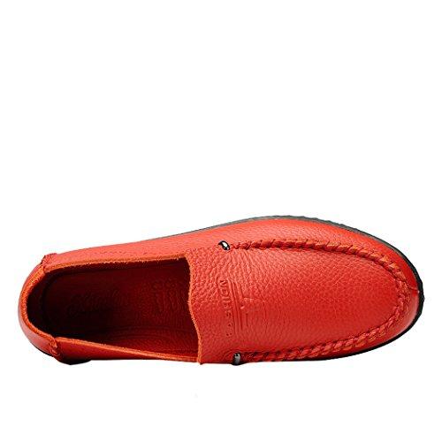 Sole Lorence Moda Uomo Leggero Morbido E Traspirante Scarpe Da Sutura Manuale In Pelle Casual Slip-on Mocassino Rosso