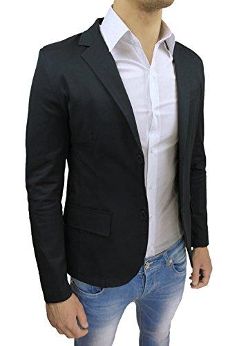 Giacca Uomo Nero Fit In Elegante Casual Italy Made Sartoriale Aderente Slim qTUnxdCrq