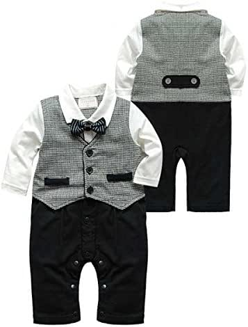 maifeng puseky Newborn Baby Boys Infant Gentleman Suit Bow Tie Romper Jumpsuit Outfits Clothes