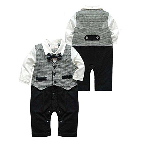 Newborn Baby Boys Infant Gentleman Suit Bow Tie Romper Jumpsuit Outfits Clothes (70cm(0~6M))