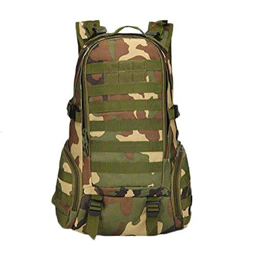 mochila 35L paquete de ataque multifuncional mochila táctica escalada senderis momorral al aire libre , black jungle camouflage