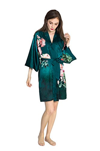 Kimono Dressing Gowns - Old Shanghai Women's Kimono Robe Short - Watercolor Floral, Coral Chrysanthemum -Emerald