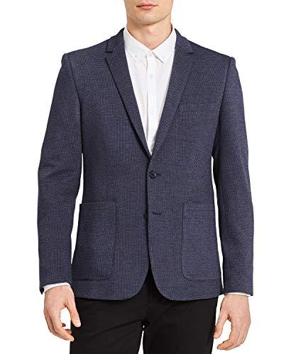 (Calvin Klein Men's Knit Dobby Slim Fit Blazer (Cadet Navy,)