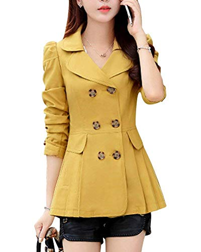 Fit Loisir Double Blouson Elégante Slim Coat Outerwear Vêtements Unie Mode  Manteau Manches Boutonnage Gelb Printemps ... bdc25be373f8