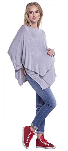 Happy Mama. Mujer Poncho Diseño De Doble Capa Premamá Lactancia Punto Fino. 441p Gris Claro