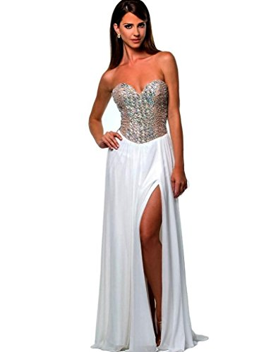Terani Special Occasion Dress - Terani Couture Women's White Silver Embellished Strapless Long Gown Formal Prom Pageant Dress SZ 4