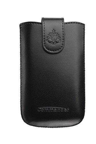 Commander Elegance DeLuxe M Leder Case für Apple iPhone 3G/3GS/4/4S schwarz