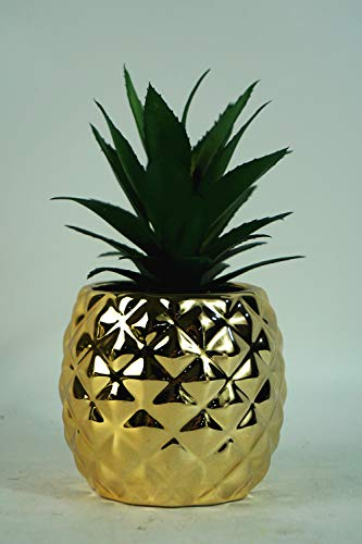"Surprise Art Pineapple Artificial Potted Succulent 7.8"" Pineapple (Gold) Home Tabletop Decoration (Gold)"