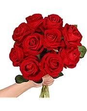Luyue Artificial Silk Rose Flower Bouquet Fake Roses Wedding Floral Arrangement Party Home Decor
