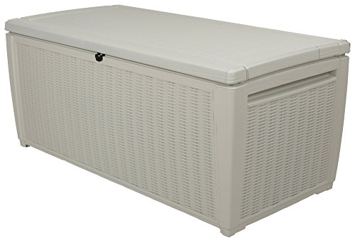 Keter Rattan Style Outdoor Pool Storage Deck Box, 511 L - White