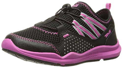 Teva Scamper Trail Shoe , Black/Pink, 2 M US Little Kid