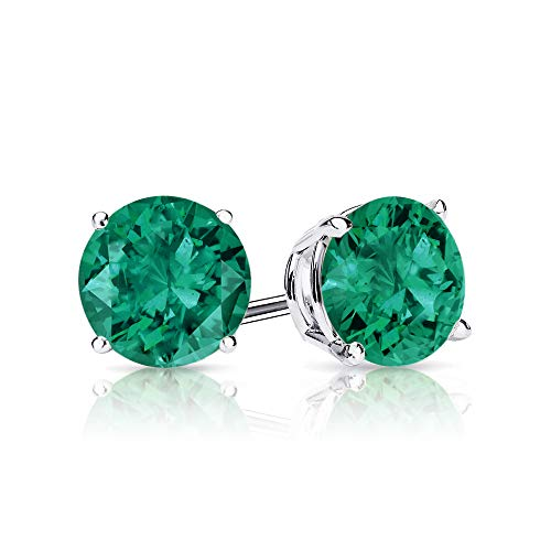 9mm Created Emerald Stud Earrings in 14k White Gold (5.0 CT.TW.)