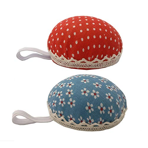 Chris.W Fabric Coated Wrist Wearable Sewing Pin Cushions Needles Pincushions for Handy Needlework DIY Craft, Pack of 2(Red Dot + Blue ()
