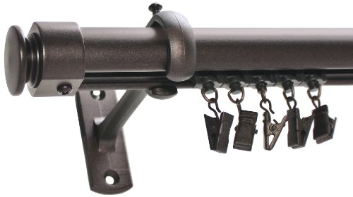 Decopolitan Cap Traverse Window Treatment Rod, 26 to 72-Inch, Toasted Copper