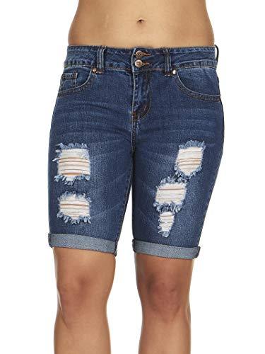 (Cover Girl Jeans Juniors Cuffed Distressed high Rise Bermuda Denim Shorts for Women in Medium Blue Size 11)