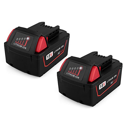 Biswaye 2 Pack 18V 5.0Ah Replacement Battery for Milwaukee 18V High Capacity Red Lithium Cordless Power Tools Battery M18 XC M18B 48-11-1820 48-11-1850 48-11-1828 by Biswaye (Image #9)