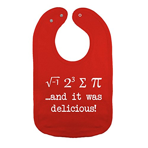 We Match! Unisex-Baby - I Ate Some Pie And It Was Delicious Funny Math Geek Thick PREMIUM 2-Ply Cotton Baby Bib With Snaps (Red)