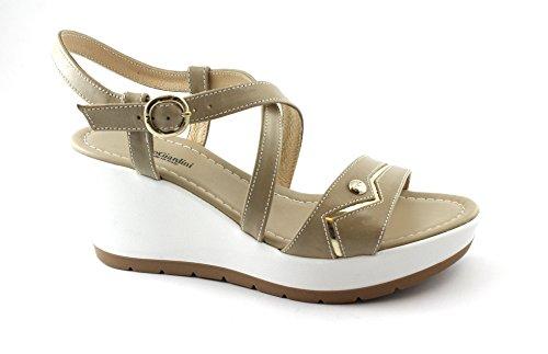 Beige cruzando de Arena Zapatos Sandalias Cuero Mujeres Giardini Nero 05710 Beige Cuña waqx8vtnB