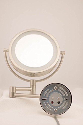 Jerdon HL88CL 8.5-Inch LED Lighted Wall Mount Makeup Mirror with 8x Magnification, Chrome Finish by Jerdon (Image #1)