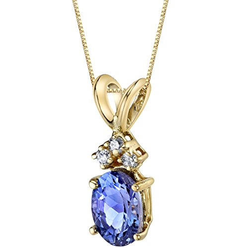 14 Karat Yellow Gold Oval Shape 0.75 Carats Tanzanite Diamond Pendant ()
