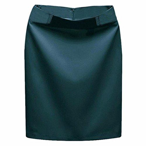 Faldas de Polyster Midi mujeres de la falda falda de traje paquete de paso de la cadera una linea de falda corta Verde malaquita