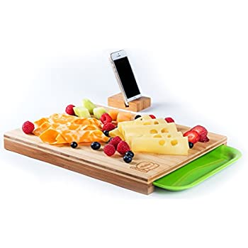 Organic Bamboo Wood Cutting Chopping Board - Serving and Carving, With Drawers For Kitchen Vegetables Fruits Bread Meat Cheese [Phone, Tablet Holder Inside]