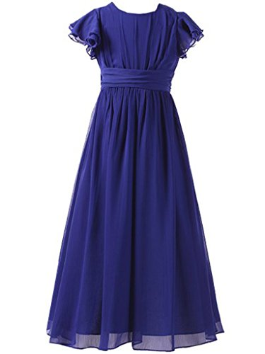 Happy Rose Flower Girl's Dress Prom Party Bridesmaid Dress Long Royal Blue 14