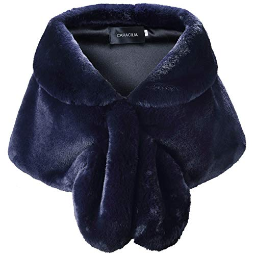 Caracilia Warm Faux Fur Wedding Shawl Wrap for Wedding Party Show CA95 , Navy Blue , Small Blue Fox Fur Coat Jacket